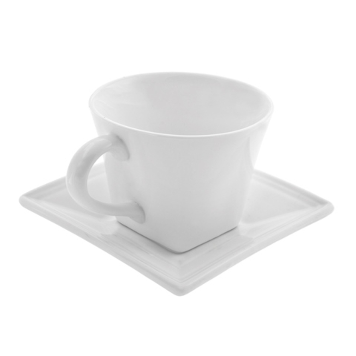 Ten Strawberry Street Whittier- 8 Oz Flared Square Cup And Saucer- Set of 6 596e29292a00e47d7b0c30e9
