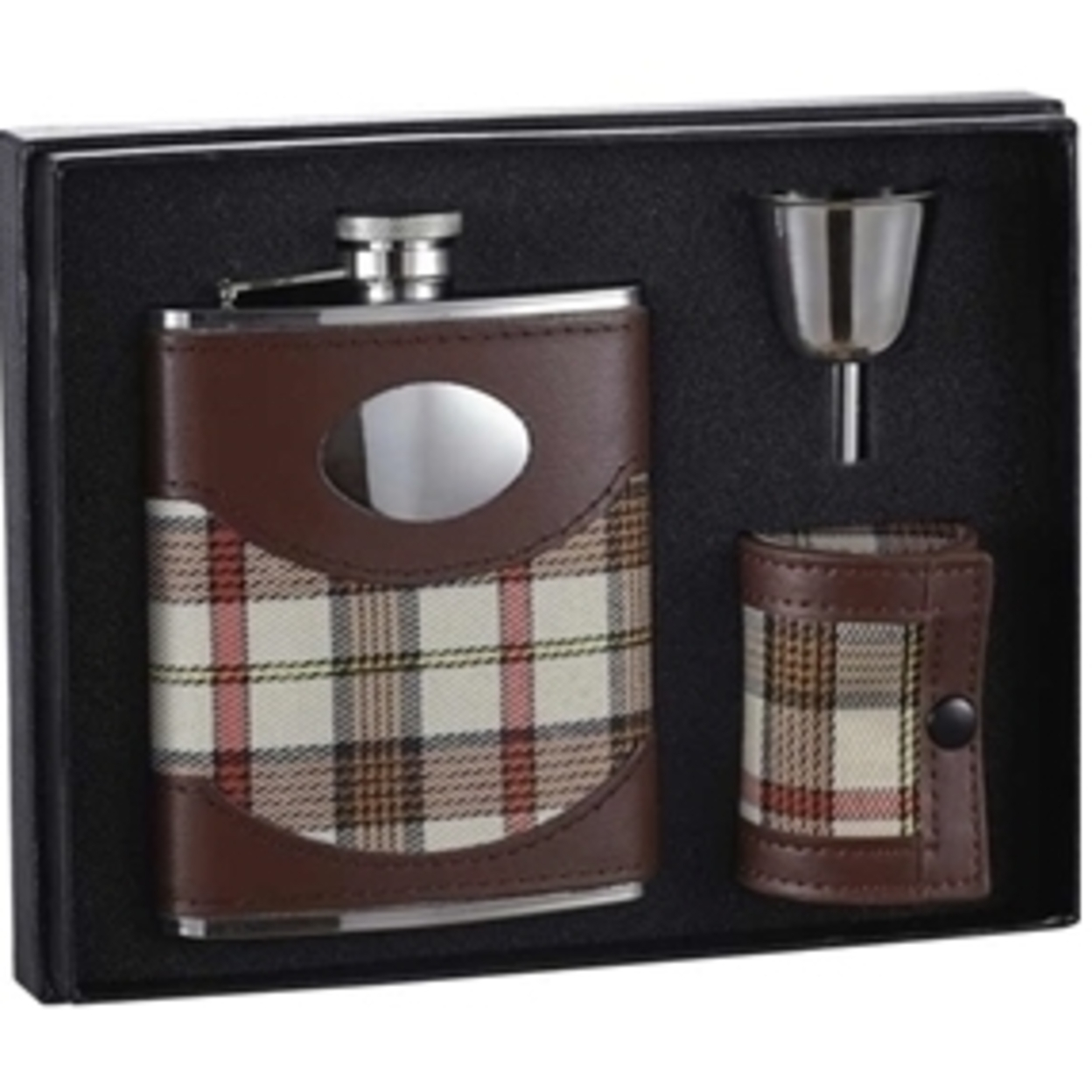 Visol Vset110 Braw 6oz Leather & Plaid Stainless Steel Flask Gift Set 5a3d72dfe2246116f7609354