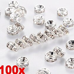 100PCS Silver Austira Clear Crystal Rhinestone Rondelle Spacer Beads DIY 8mm  10colors