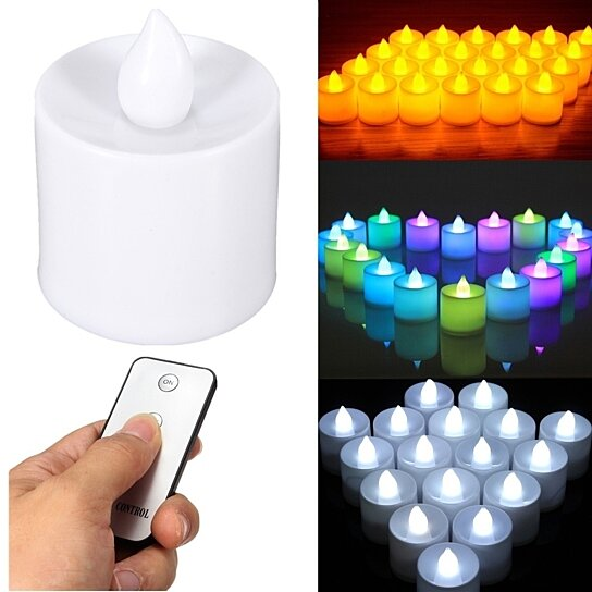 3 Color 24pcs Remote Control Candle Light Flameless Battery Operated Led Tea Tealight By Uncle Thank S On Opensky