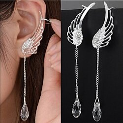Sterling Silver Angel Wing Crystal Cuff Earrings