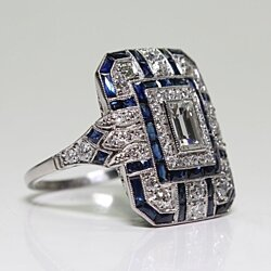 Antique Art Deco 925 Sterling Silver Blue Sapphire & Diamond Ring Size 5-11