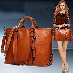 Classic Leather Carry-All Satchel, Multiple Colors
