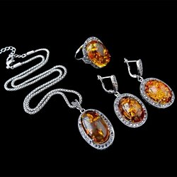 New Jewelry Set Vintage Antique Silver Plated Fashion Black Crystal And Oval Faux Amber Jewellery Set Women Gift
