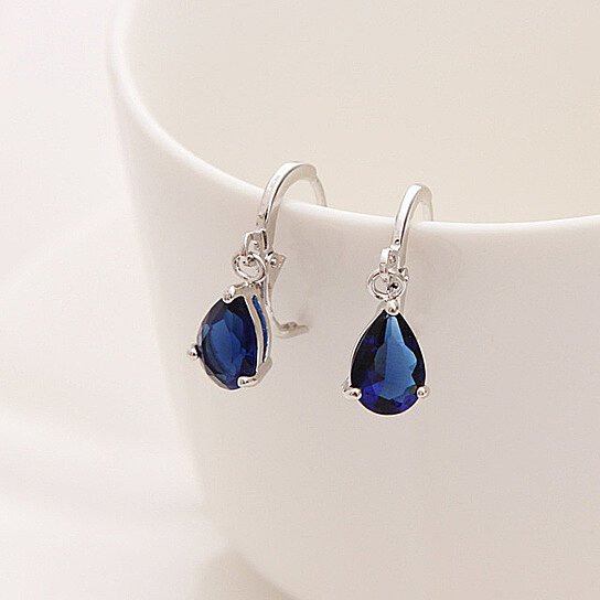 Royal Blue Austria Crystal Silver Clip Dangle Earrings By Uncle Thank S On Opensky