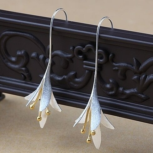 Sterling Silver Special Occasion Flower Drop Earrings