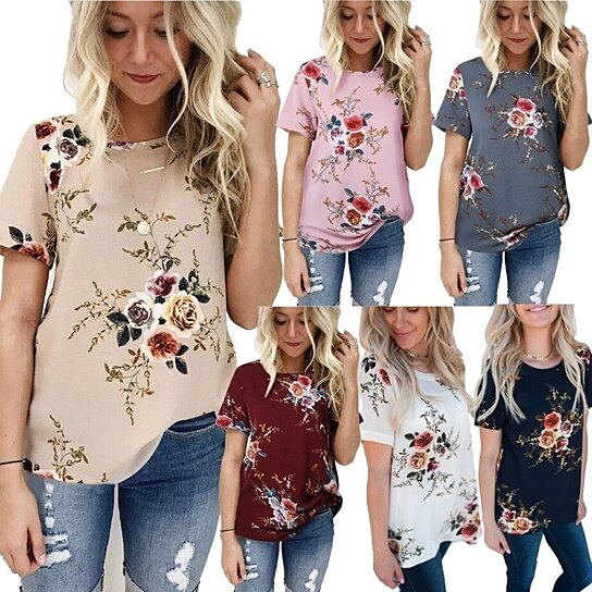 627fae0832a Buy Simple Style Summer Fashion Women Short Sleeve T-shirts Plus Size  Floral Printed T-shirts Women by Uncle Thank s Store on OpenSky
