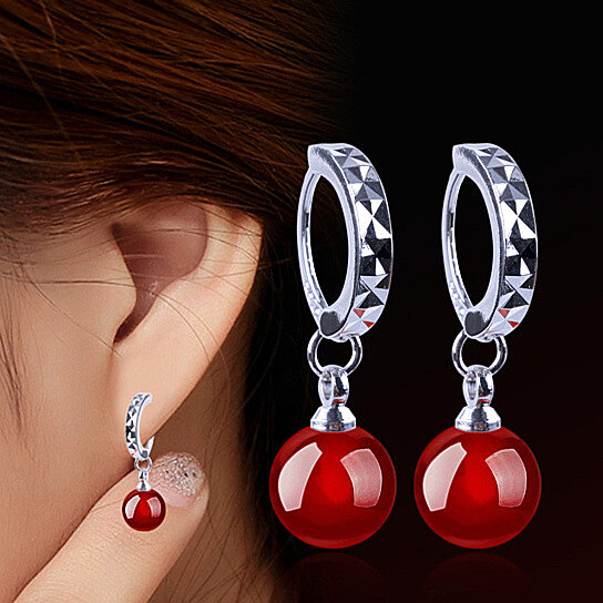 Sterling Silver Earrings For Women Natural Black And Red Agate Ear Jewelry By Uncle Thank S On Opensky