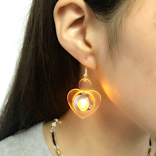 Color Led Earrings Light Up Glowing Studs Ear Ring Drop: Buy Unique Luminous Heart LED Drop Earring Light Up