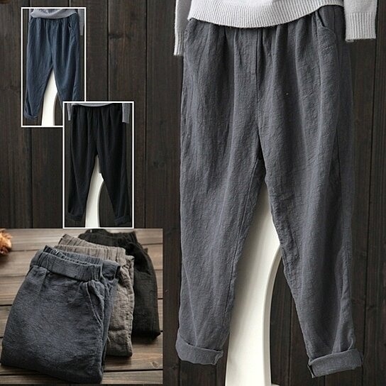025f00709a7 Buy Women Linen Harem Pants Baggy Loose Trousers Casual Lady Waistband by  Uncle Thank s Store on OpenSky