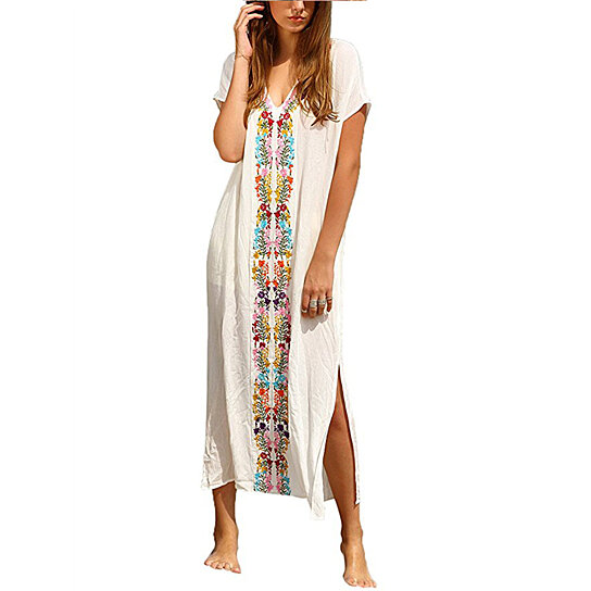 4b73c96e3d Buy Women's Bohemian Floral Embroidery Split Maxi Dress Cover Ups by Uncle  Thank's Store on OpenSky