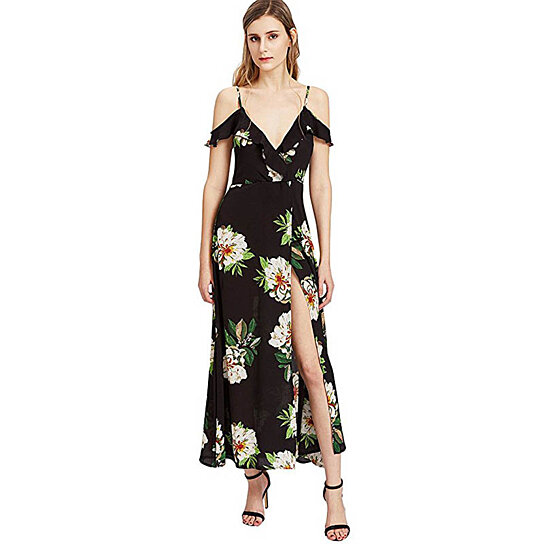 6599148f62 Buy Women's Casual Cold Shoulder Backless Floral Print Beach Long Wrap Maxi  Dress by Uncle Thank's Store on OpenSky
