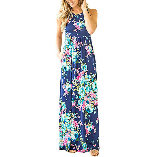 514fa80a69 Buy Women's Floral Print Round Neck Sleeveless Long Maxi Casual Dress by Uncle  Thank's Store on OpenSky