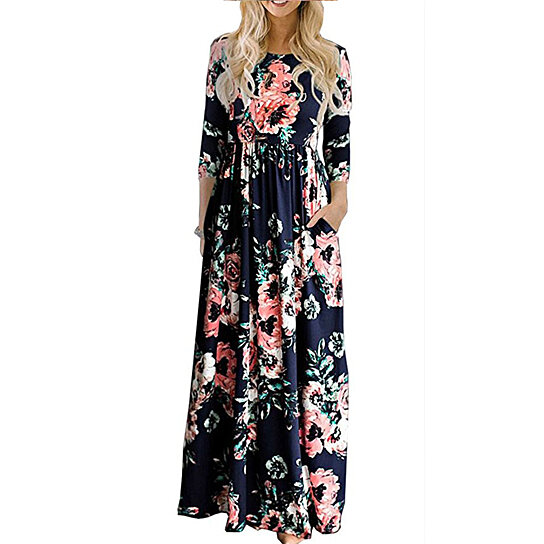 f36d15b6e1 Buy Women's Spring Fashion Printed Long Dress Three Quarter Sleeve Empire  Flower Floor-length Dress by Uncle Thank's Store on OpenSky