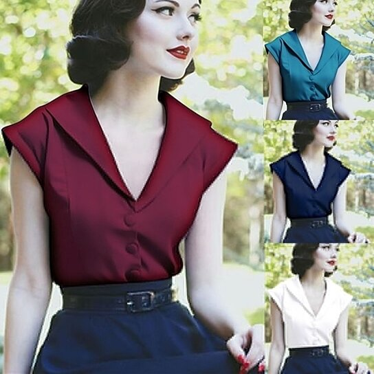 54d7c7a815515 Buy Women Sexy V Neck 1940's Satin Top Casual Plus Size Slim Fit Banned  Blouse by Uncle Thank's Store on OpenSky