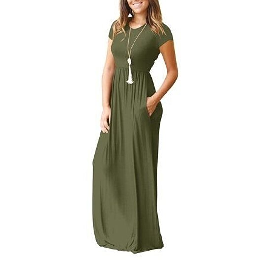 04f59e072903 Trending product! This item has been added to cart 13 times in the last 24  hours. Women Short Sleeve Maxi Dress With Pockets Plain Loose Swing Casual  ...