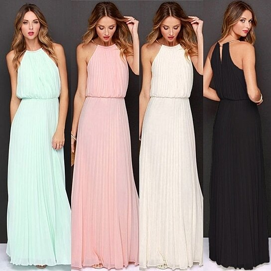 4cc01428f7 Buy Women Sleeveless Halter Maxi Dress Fashion Elastic Waist Slim Elegant  Formal Dresses by Uncle Thank's Store on OpenSky