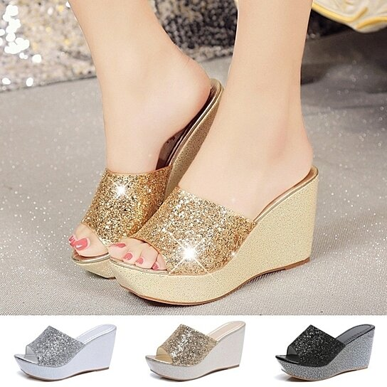 f7757eeb0 Trending product! This item has been added to cart 64 times in the last 24  hours. Women Summer Casual High Heel Wedge Skid Slippers Sandals Silver  Bling ...