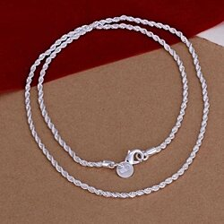 Women's Silver Plated 2MM Twisted Pendant Necklace Chain Stylish Jewelry
