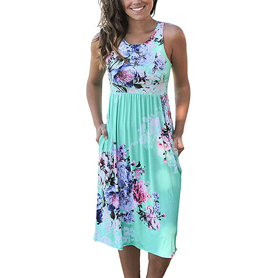 a60dc65890 Buy Womens Summer Casual Floral Print Midi Dresses by Uncle Thank's Store  on OpenSky