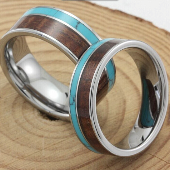 Buy Turquoise Hawaii KOA Inlay tungsten Wedding rings sets man