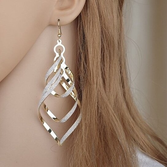 5aefb02092519 New Brand Design Fashion Elegant Classic Punk Gold Color Spiral Pendant  Drop Earrings Jewelry For Women