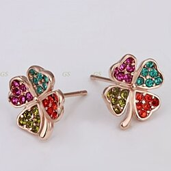 Top Quality Rose Gold Color Ear Stud Multi Color Crystal Flower Design Earrings Women Elegant Party Jewelry