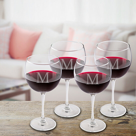 Buy Set Of 4 Personalized Red Wine Glasses By Unique Gifts
