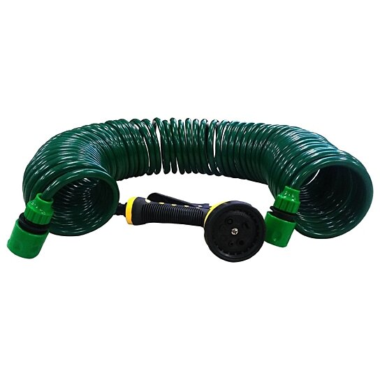 Buy durable 50ft expandable flexible garden lawn coil hose spray nozzle green by lavohome on Expandable garden hose 100 ft