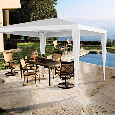 Easy  Folding White Metal Gazebo Canopy Tent