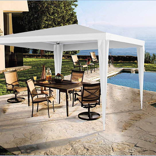 & Buy Easy Folding White Metal Gazebo Canopy Tent by LavoHome on OpenSky