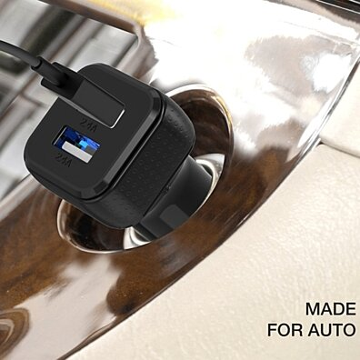 4.8A 2 Ports Car Charger for Universal - [Black / Black]