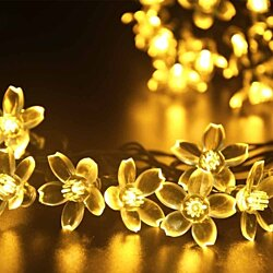 2-Pack 50 Solar Powered LED Flower Fairy Lights