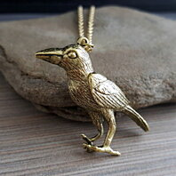 Antique Gold Bird Anatomy Necklace