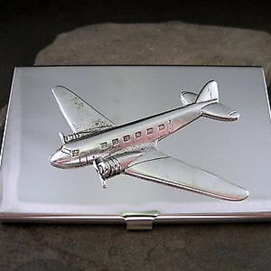 Buy handmade silver brass steampunk airplane aviation for Airplane business card holder