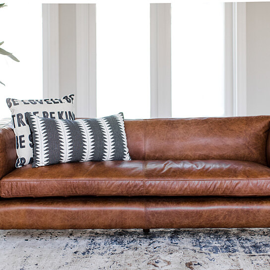 Buy Mid Century Modern Brighton Leather Sofa Top Grain Genuine