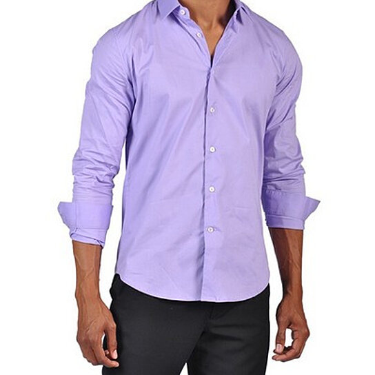Buy Mens Fashion Button Down Dress Fitted Shirt Light: light purple dress shirt men