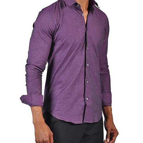 Buy Mens Fashion Button Down Dress Fitted Shirt Purple By