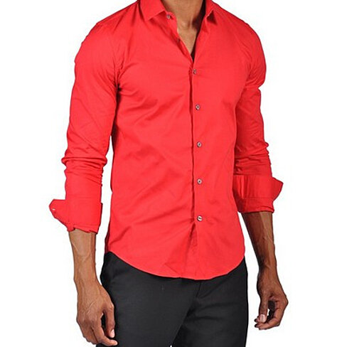 Buy mens fashion button down dress fitted shirt red by us outlet on opensky for Mens red button up dress shirt