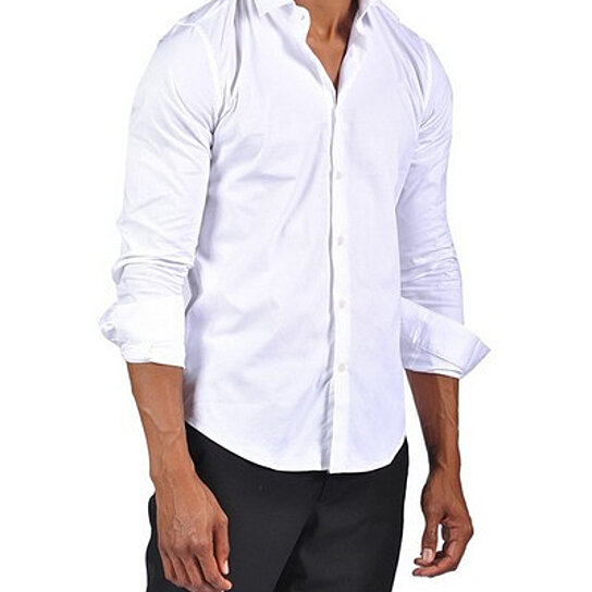 Buy mens fashion button down dress fitted shirt white by for Mens white button down dress shirts