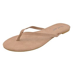 Wet Seal Women Faux Leather Flip Flops Taupe Thong Sandals