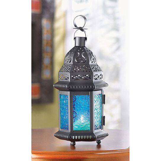 Buy BLUE GLASS MOROCCAN LANTERN by Verdugo Gift Company on