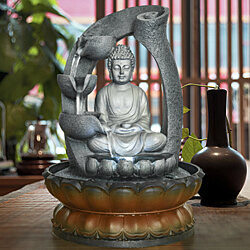 11in Buddha Tabletop Water Fountain for Home&Office Decoration,Decorative Sculpture with LED Light&Circular Water Flow for Good Luck Keeping
