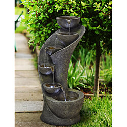 "Modern Curved Cascading Zen 23 1/2""H Fountain with LED Light"