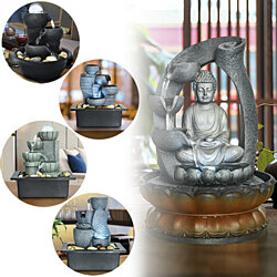 Tabletop Water Fountain - Relaxation Fountain with Illuminated LED Lights for Office, Living Room, Submersible Pump