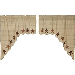 Classic Country Window Abilene Star Tan Swag Pair