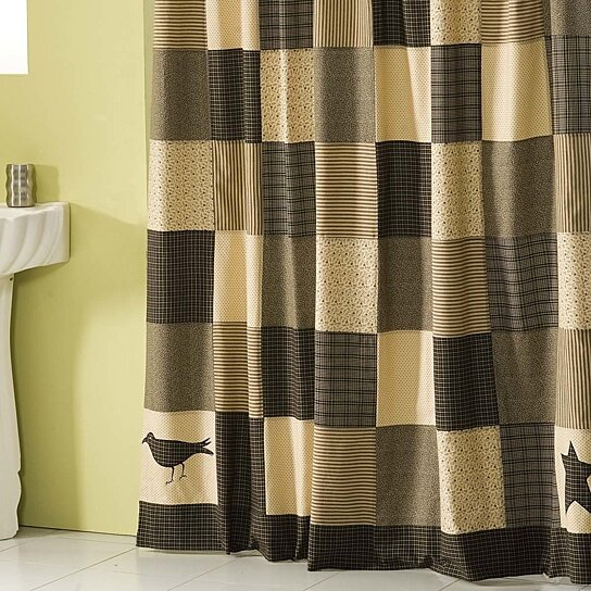 Buy Primitive Bath Kettle Grove Black Shower Curtain by VHC Brands ...
