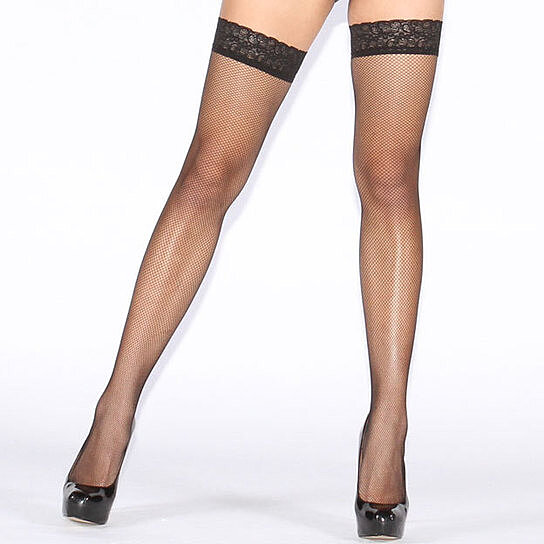 82514bc56 Trending product! This item has been added to cart 75 times in the last 24  hours. GIORGIA Micro Fishnet Thigh High Stockings