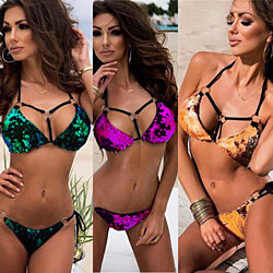 Bling Shiny Glitter Sequin Sexy Halter Cut Out Bandage Bikini Swimsuit Cute
