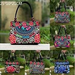 Embroidered Ethnic Totes Bag  Wind Lace Beads Forest Clouds Canvas